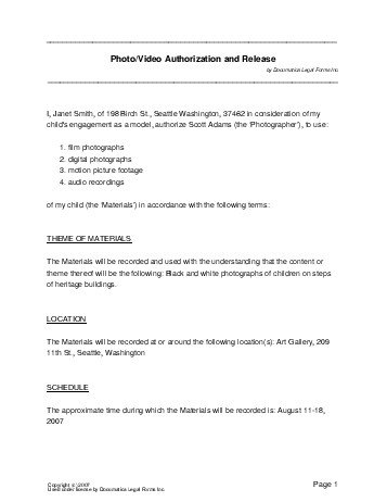 consent agreement template free photovideo consent agreement