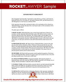 Consignment Agreement & Contract Sample   Rocket Lawyer