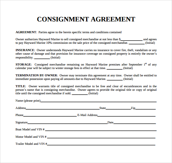 consignment stock agreement template consignment agreement