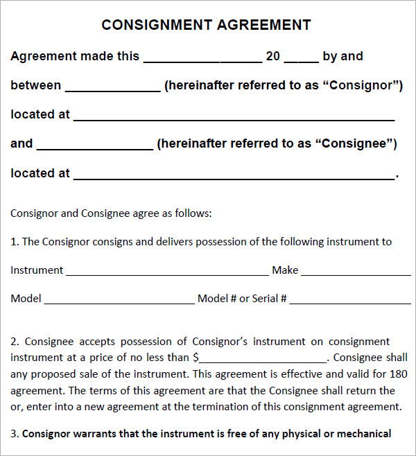 consignor agreement template consignment agreement 10 download