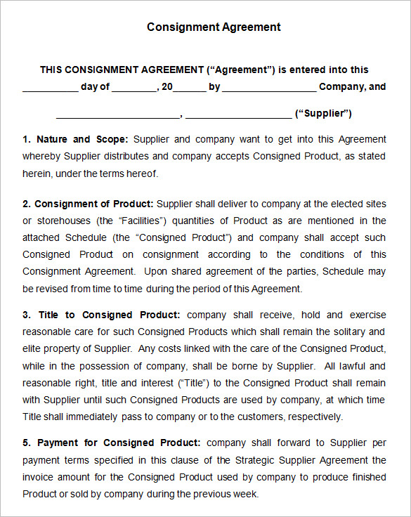 standard consignment agreement template consignment contract