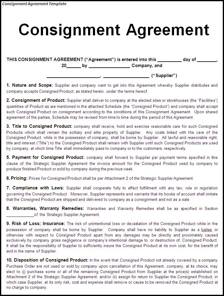 consignment agreement template uk consignment agreement template