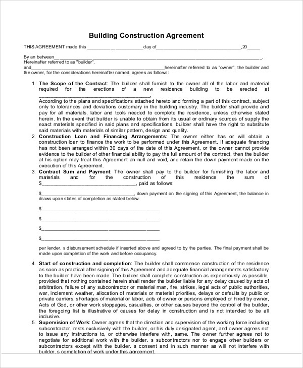 9+ Construction Agreement Templates Free Samples, Examples Format