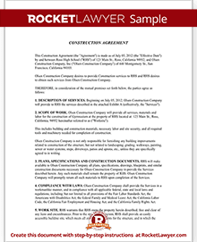 Construction Contract Template Construction Agreement Form