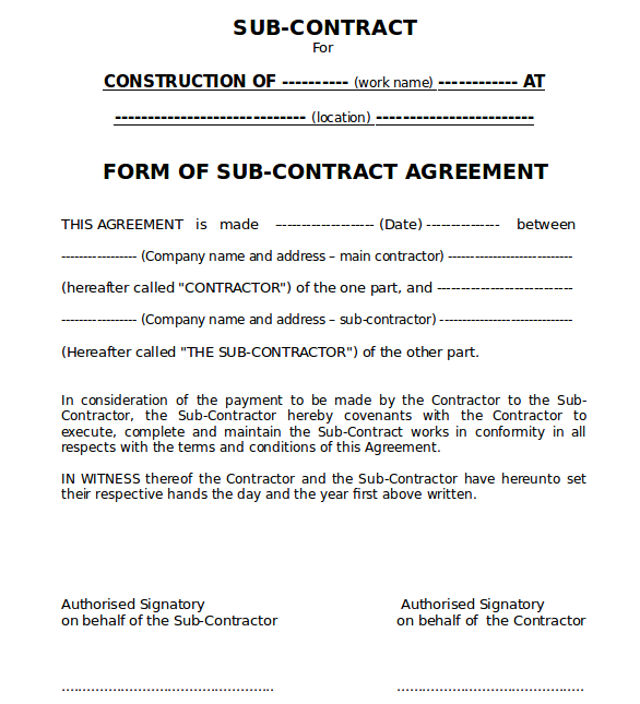 work agreement contract template sample of conditions of sub