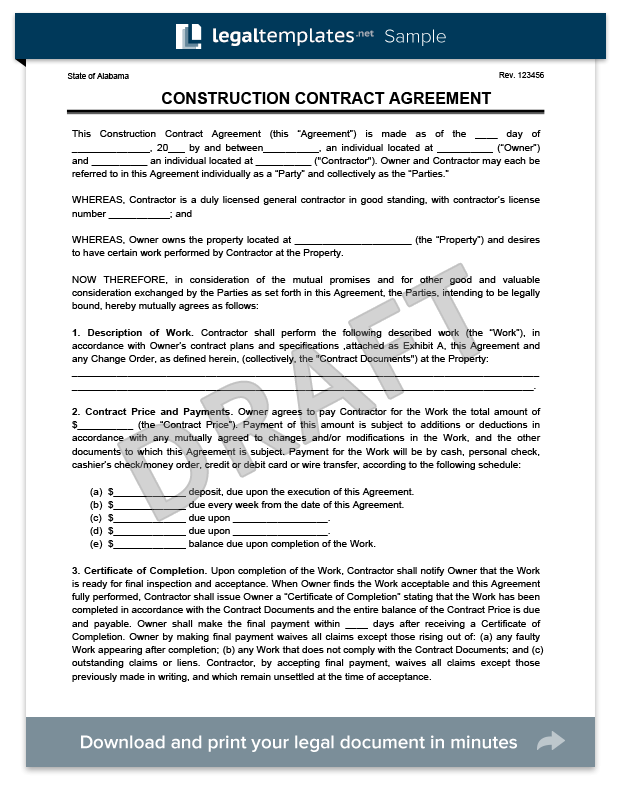 Create a Free Construction Contract Agreement | Legal Templates