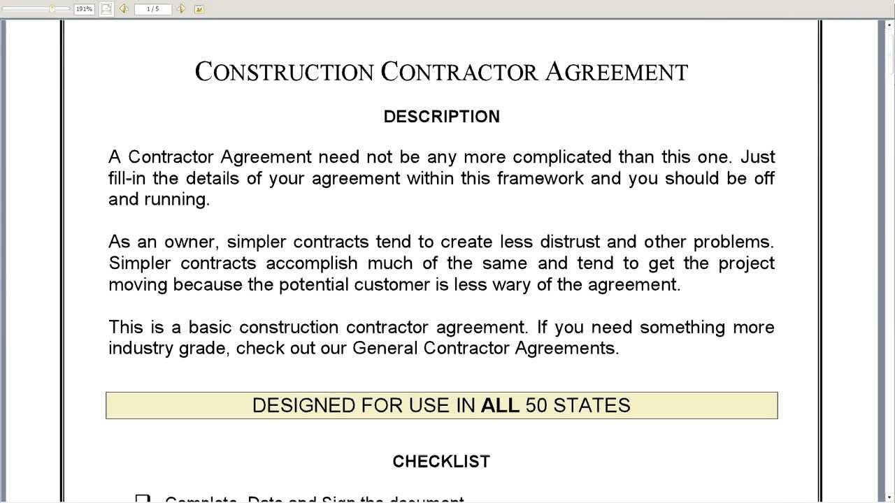 Construction Contractor Agreement YouTube