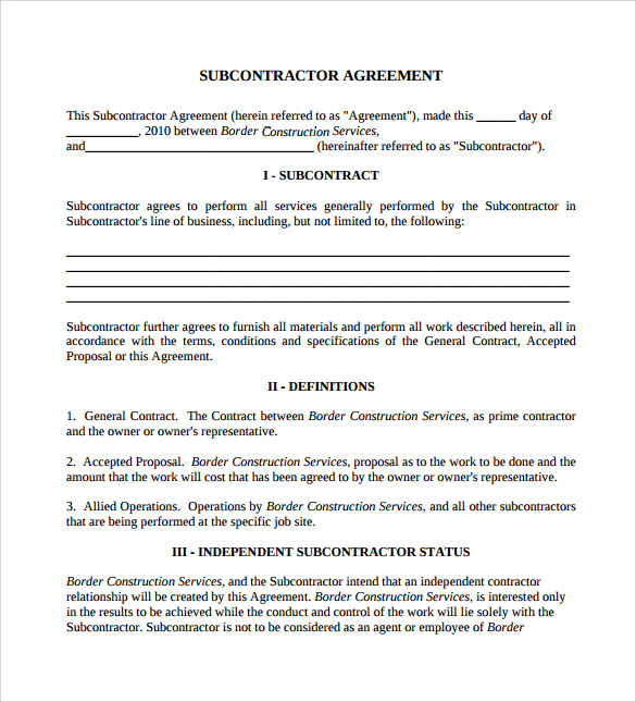 operation agreement template for limited lizb subcontractor