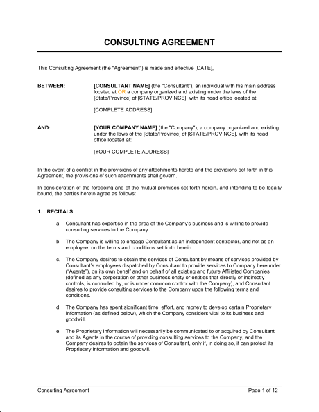 consulting contract agreement template consultant agreement