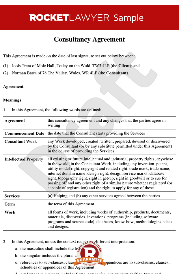 consultancy agreement template agreement template contractor