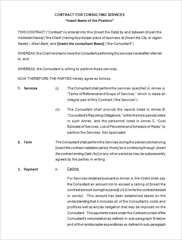consultant agreement template 9 consulting contract templates free
