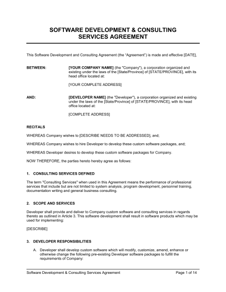 fulfillment services agreement template software development and
