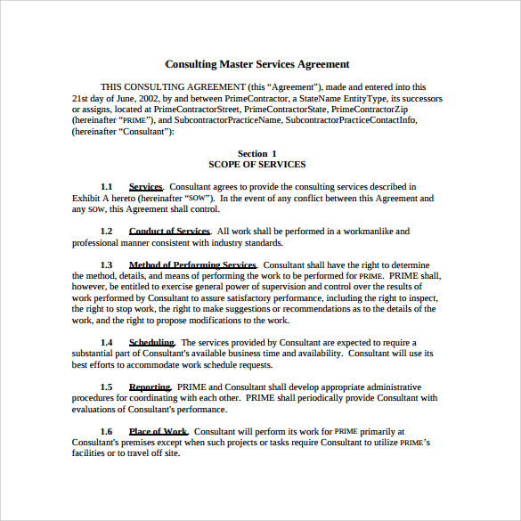 Master Service Agreement Consulting Template Schreibercrimewatch.org
