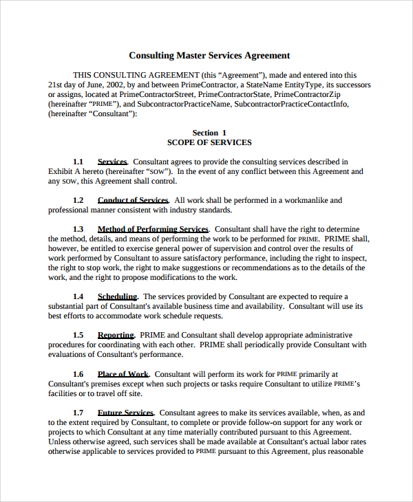 master service agreement consulting template master service