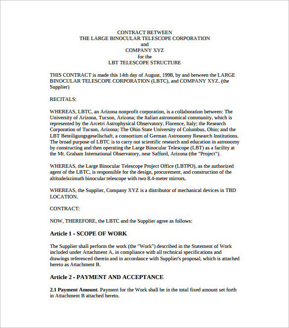 contract agreement template between two parties contract agreement