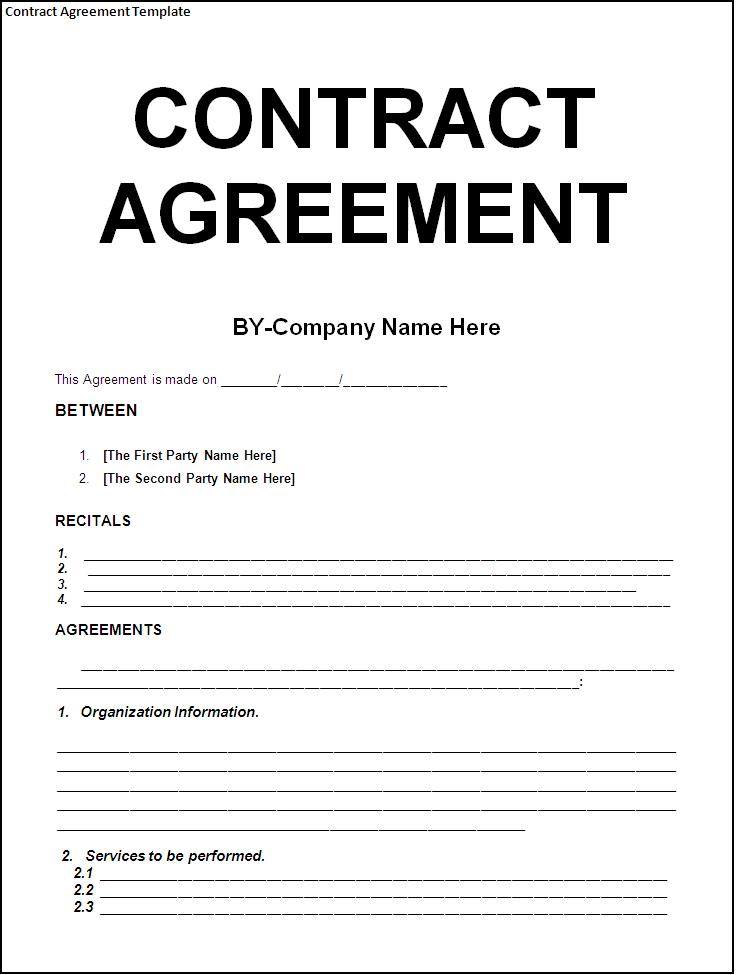 sample contract agreement template free download blank contract