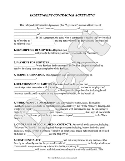 contract work agreement template independent contractor agreement