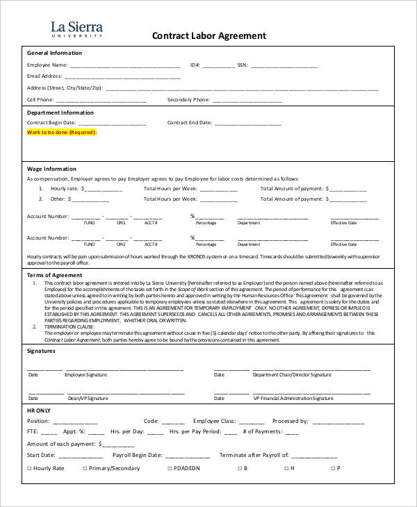 contract labor agreement template 4 labor agreement templates free