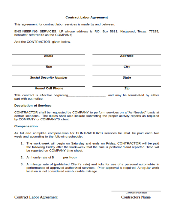 labor agreement template contract labor agreement sample templates