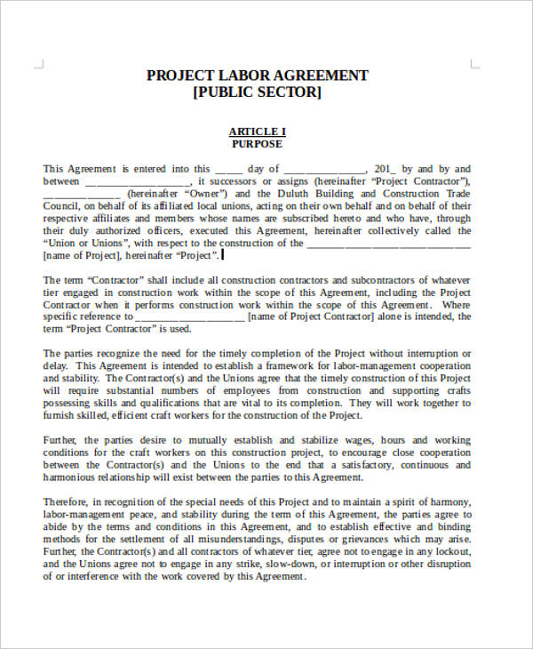 Labor Agreement Templates 6 Free Word, PDF Format Download