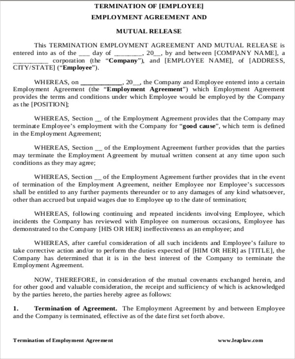 construction contract termination agreement template sample