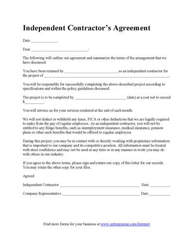 Contractors Agreement Form General Contractor Agreement Template