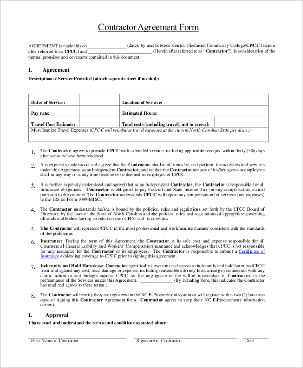 contractors agreement template sample contractor agreement form 9