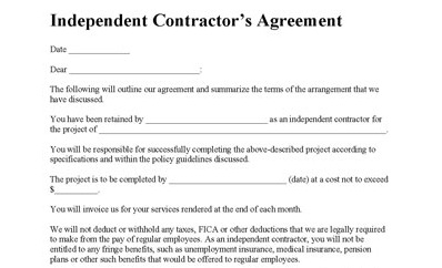 Independent Contractor Agreement Sample Contract saunabelt.co