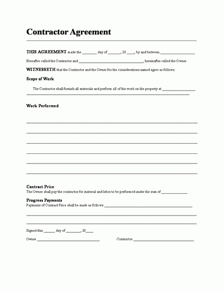 contractors agreement template contractors agreement template