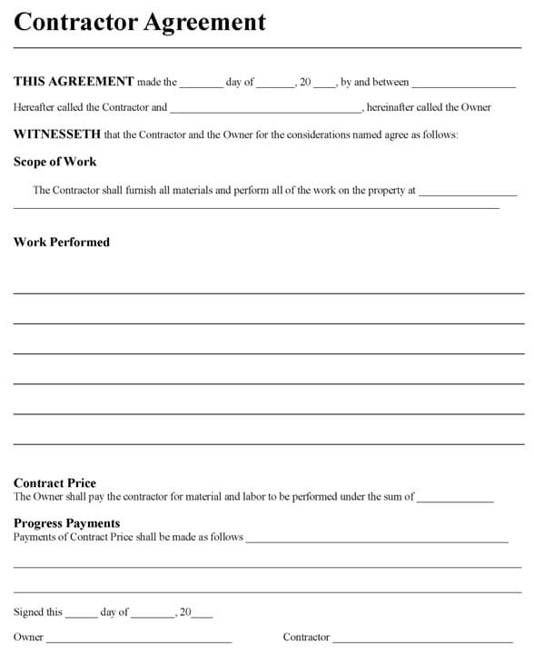 contractors agreement template contractors contract sample