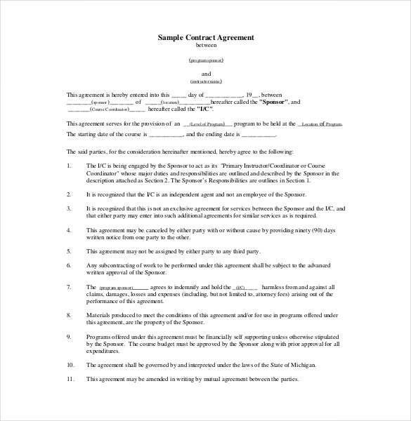 contractual agreement template contract of agreement template