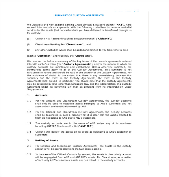 Legal Custody Agreement Template Schreibercrimewatch.org
