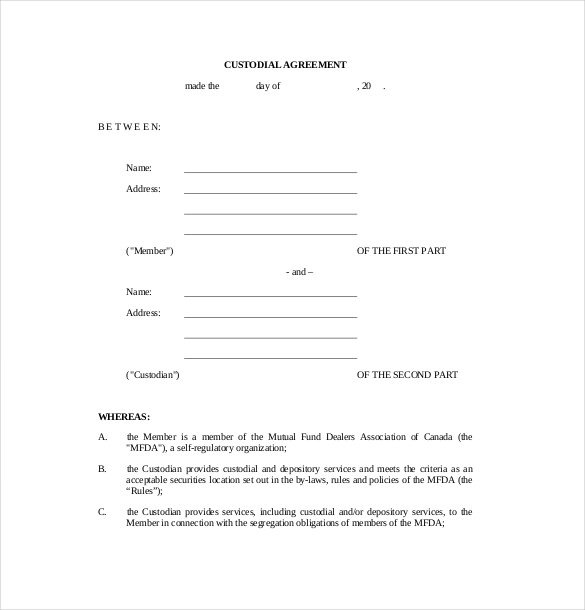 free custody agreement template child custody agreement template