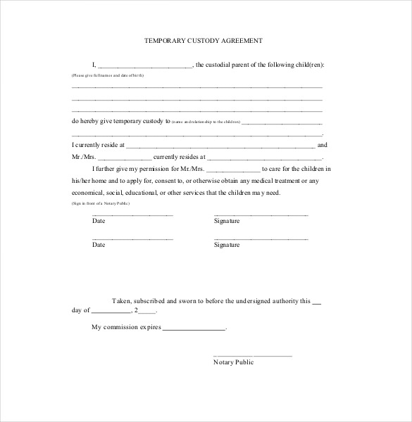 Custody Agreement Template – 10+ Free Word, PDF Document Download