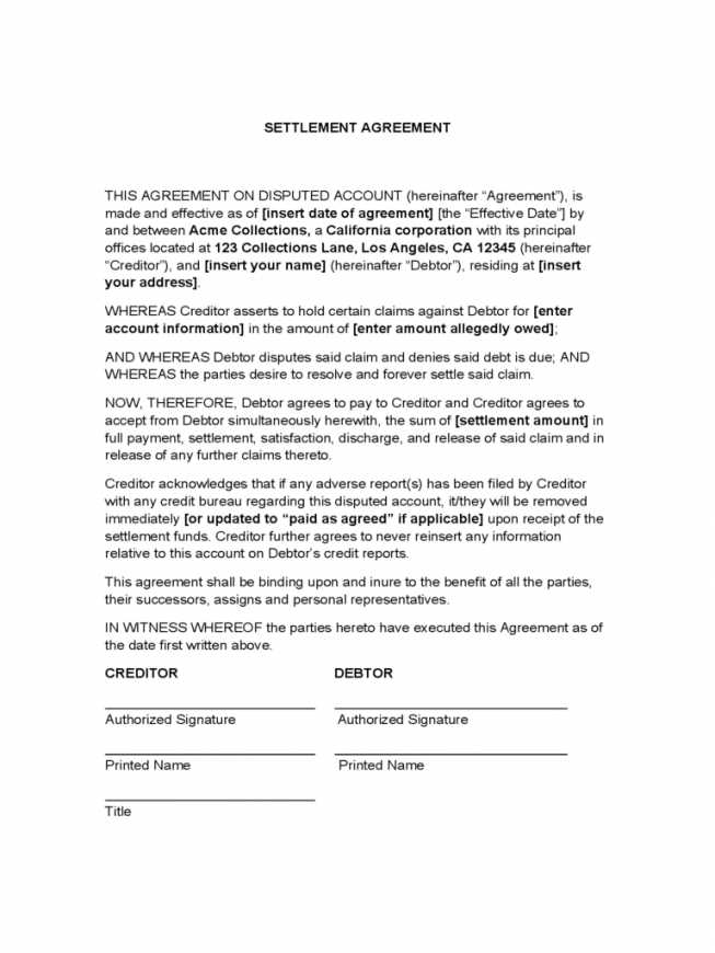 Debt Settlement Agreement Form – 3 Free Templates In Pdf, Word