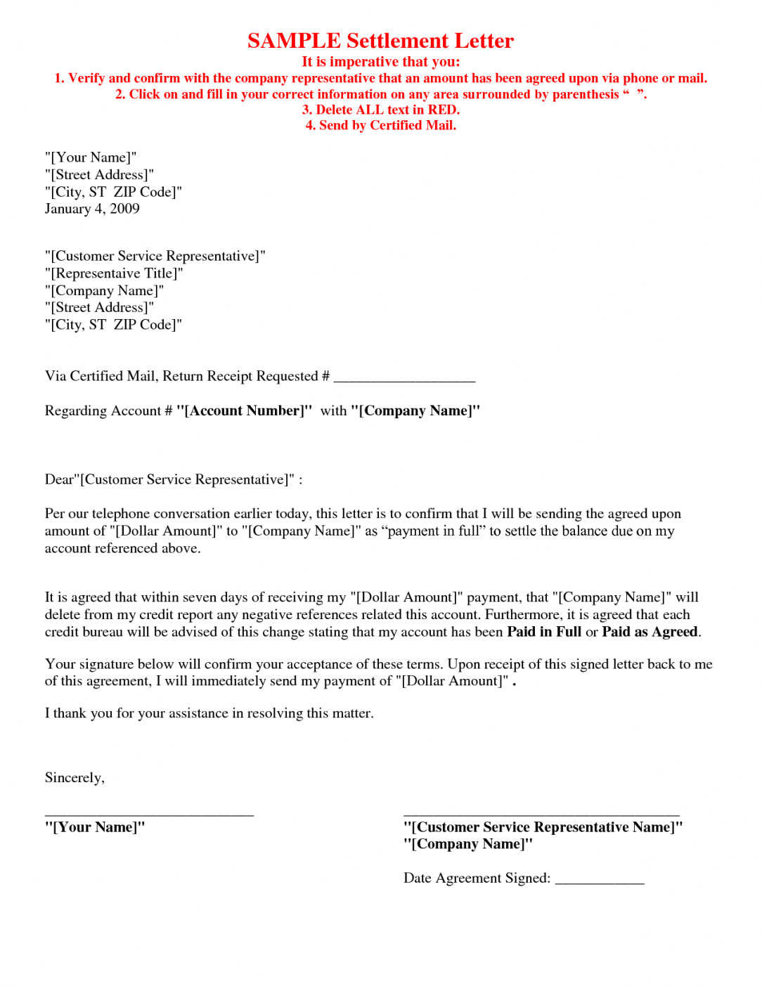 Picture 5 Of 17 – Debt Settlement Agreement Letter Sample Free