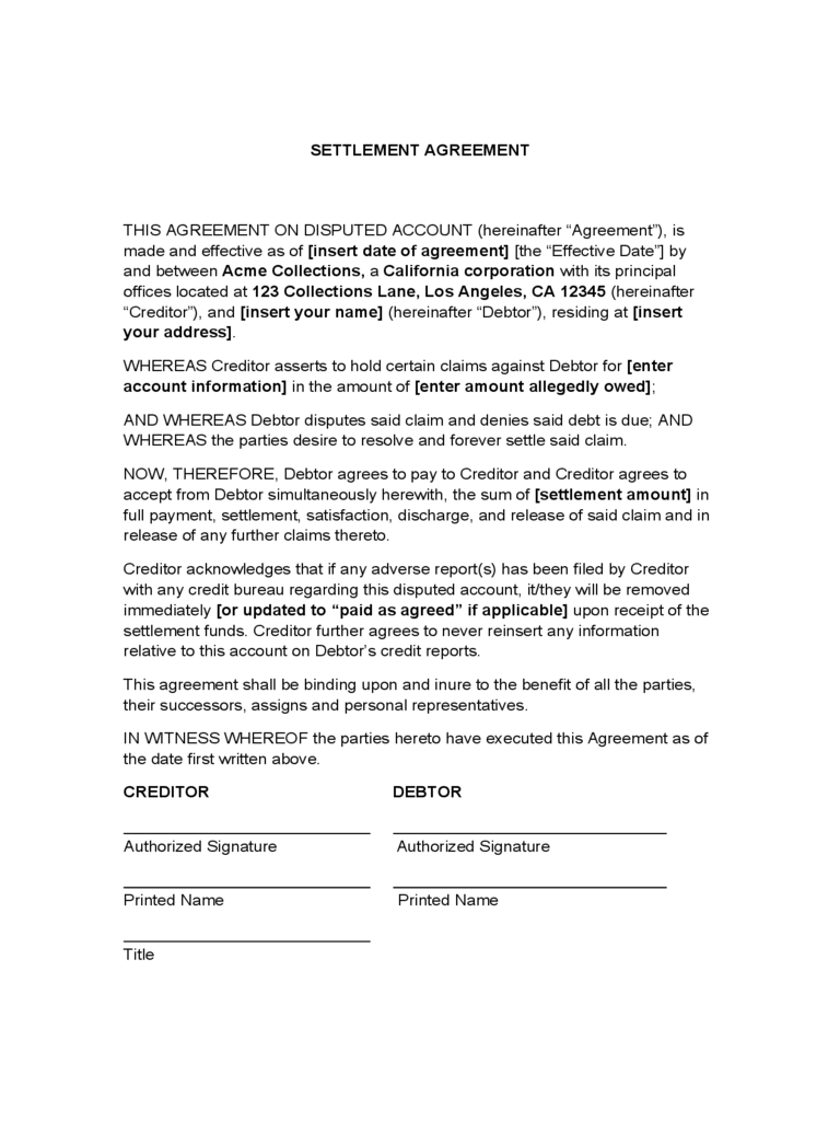 Debt Settlement Agreement Form 3 Free Templates in PDF, Word
