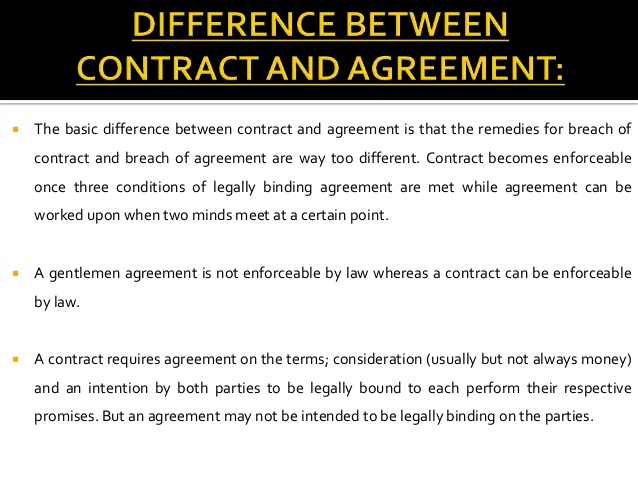 What is the difference between a Contract and an Agreement?