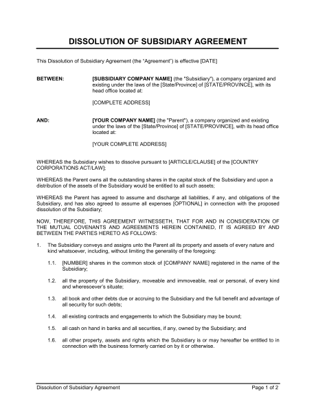 subsidiary agreement template dissolution of subsidiary agreement