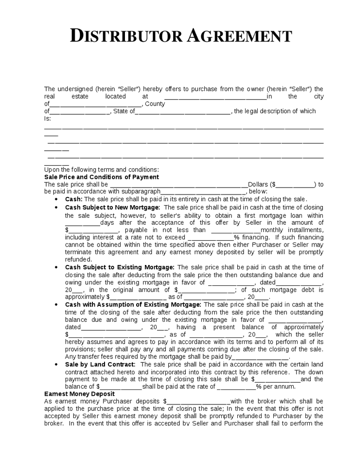 distributer agreement template sample distribution agreement