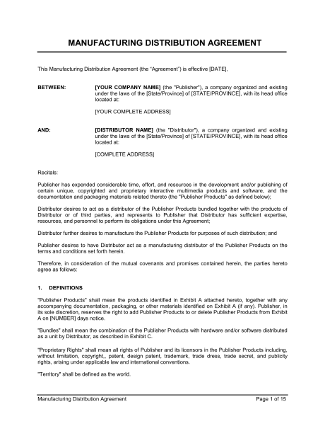 manufacturing agreement template uk manufacturing distribution