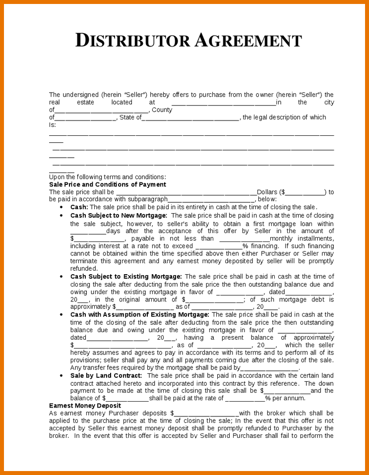 template distribution agreement agreement template distribution