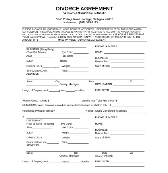 Divorce Agreement FREE Template Word & PDF