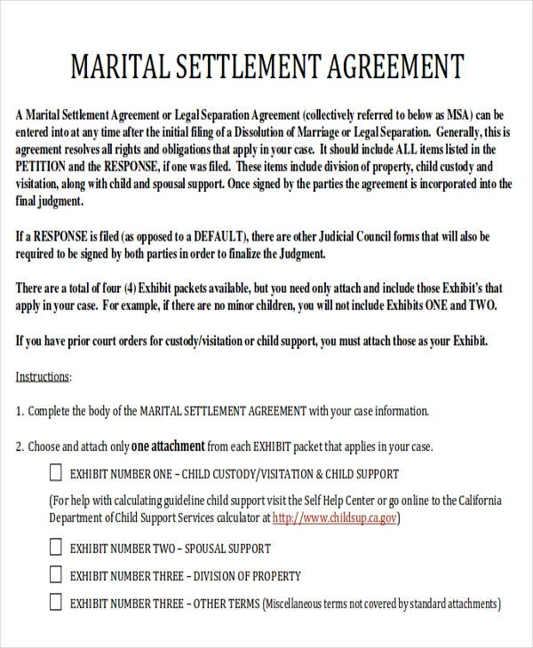 Free Legal Form Divorce Agreement Sample Of Divorce Agreement