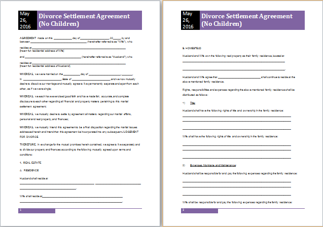 Divorce Settlement Agreement Template Gtld World Congress