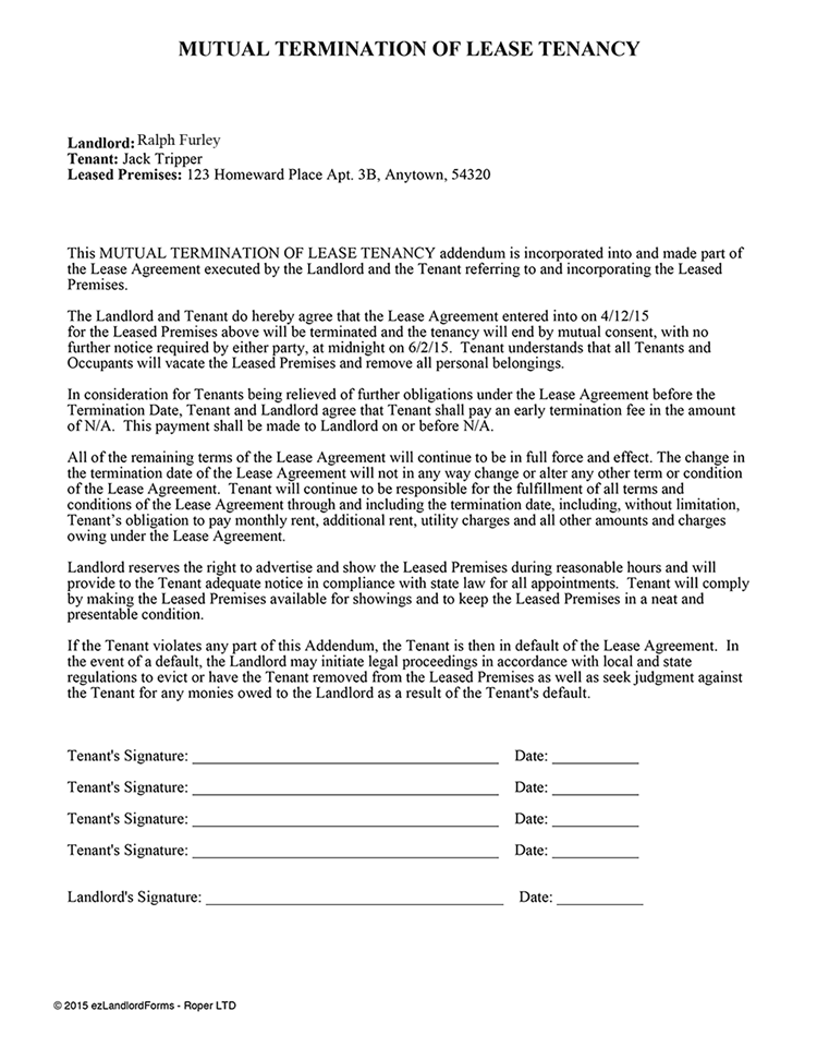 Mutual Termination of Lease Tenancy | EZ Landlord Forms