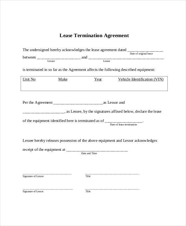 Example Document for Lease Termination Agreement