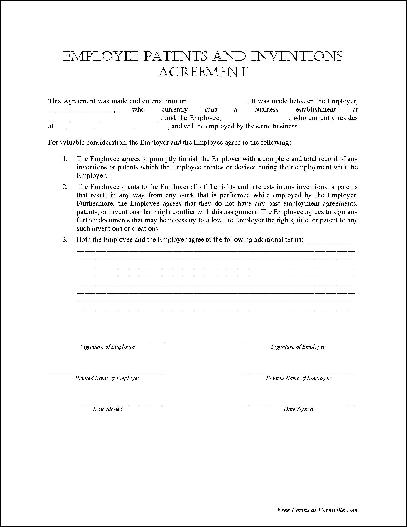 Free Basic Employee Patents and Inventions Agreement from Formville