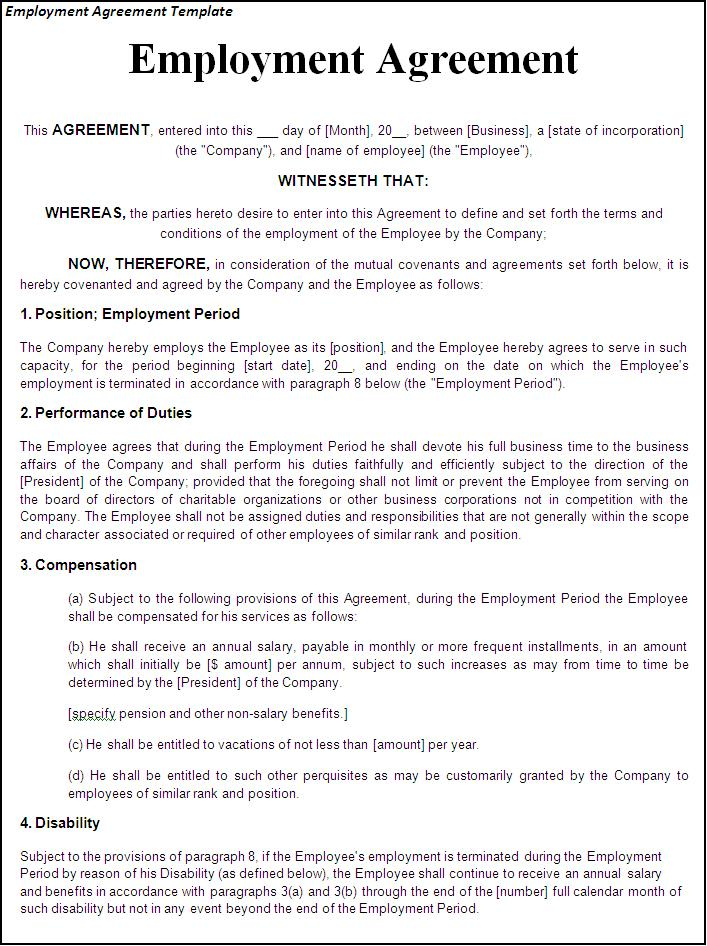 employee agreement template printable sample employment contract