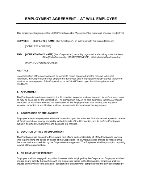 work agreement contract template training agreement between